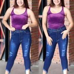 กางเกงยีนส์ขายาว 7-8 ส่วน ไซส์ใหญ่ เอวสูง